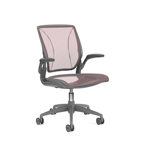 Pinstripe Mesh Red World Task Chair, Fixed Arms, Gray Frame